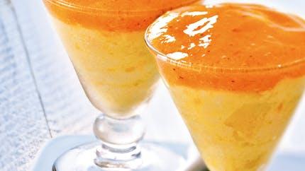 Mousse à l'orange, coulis de kaki