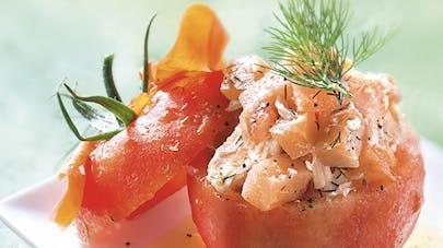 Tomate farcie aux deux saumons