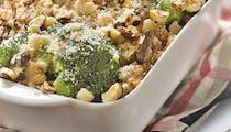 Gratinée de brocoli, thon et noisettes