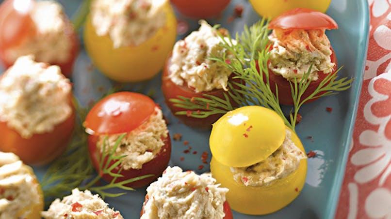 Tomates cerises farcies au poisson