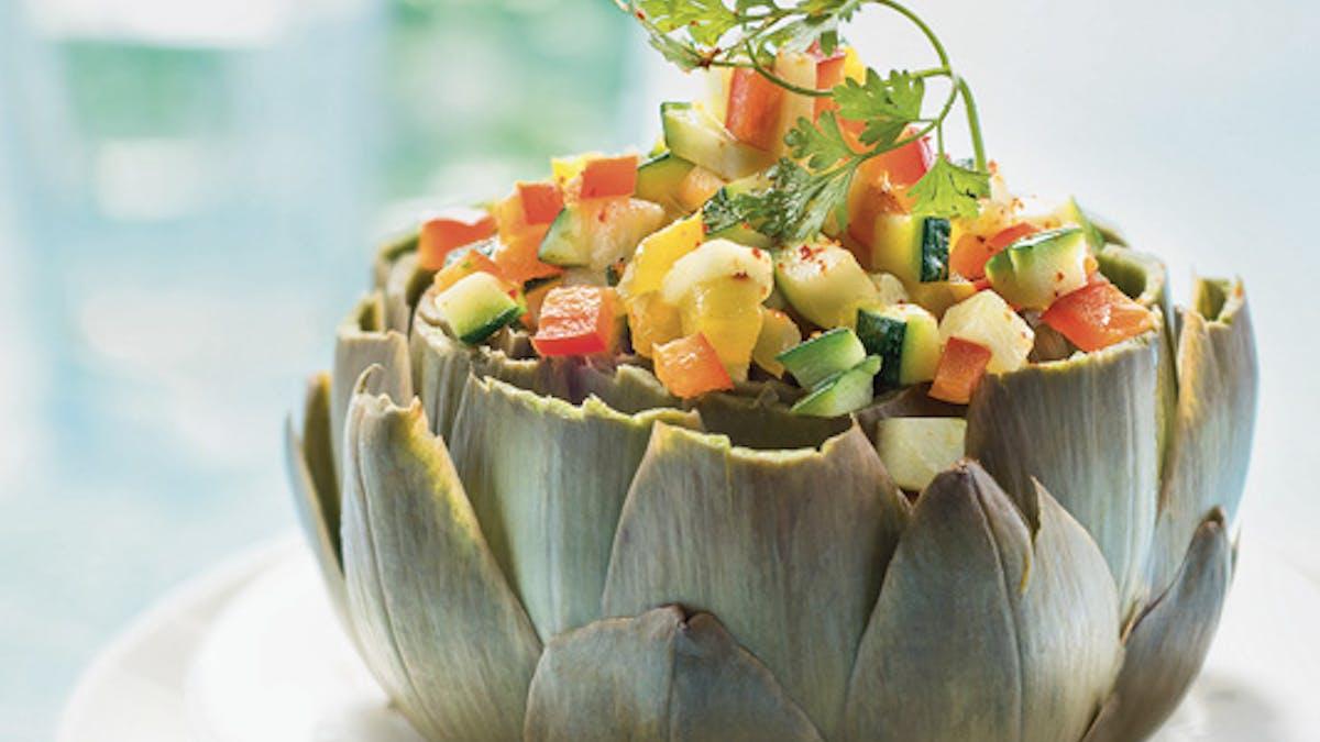 Artichaut farci aux légumes