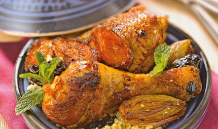 Tajine de poulet, pruneaux, carottes confites
