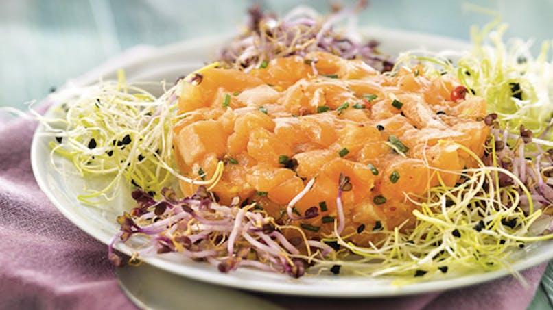 Tartare de saumon et salade de germes