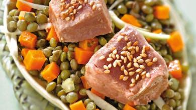 Thon poêlé, salade de lentilles vertes