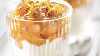 Verrine de pommes caramélisées aux flocons d'avoine