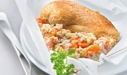 Papillote de blanc de poulet, quinoa et carottes