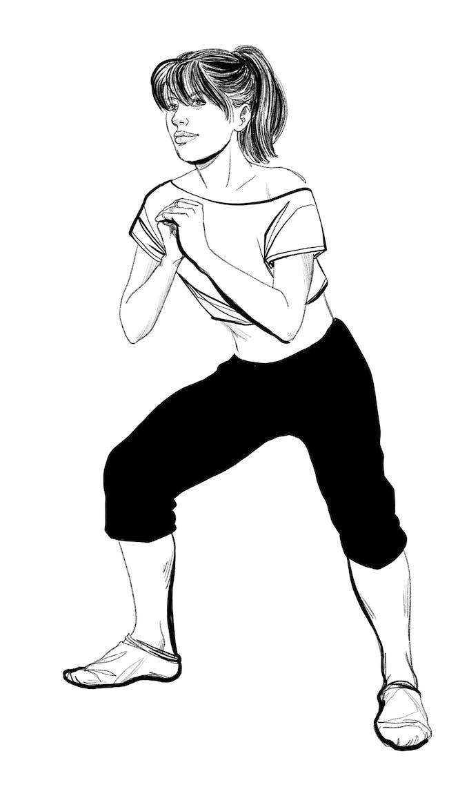 exercice sumo jambes lourdes