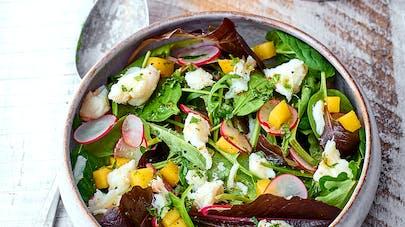 Salade au crabe, vinaigrette au miel