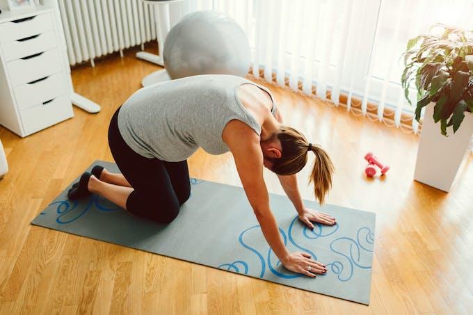 yoga prénatal posture du chat-vache