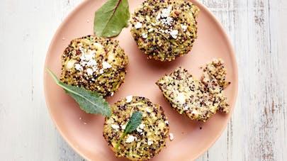 Croquettes de quinoa aux courgettes et à la feta