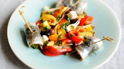 Salade de légumes grillés aux sardines