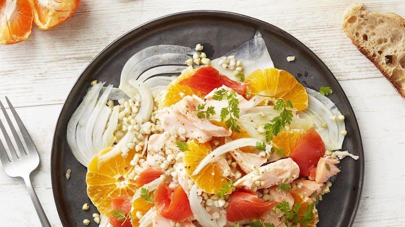 Salade de fenouil à l'orange et aux 2 saumons