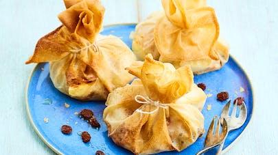 Recette d'aumônières bananes-raisins secs