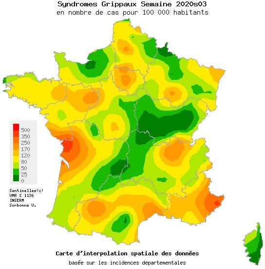 Epidémie de grippe en France au 19 janvier 2020