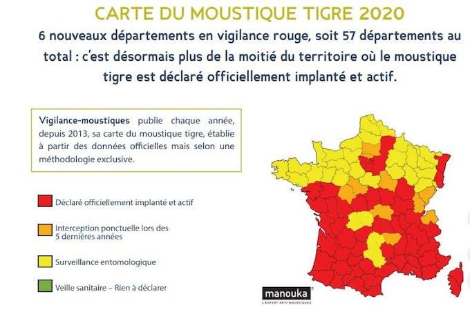 Évolution de la population de moustiques tigres en 2020