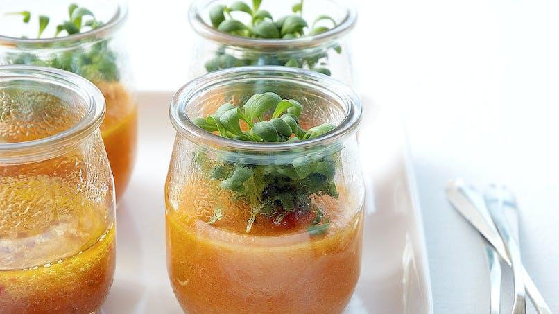 Gaspacho de carotte au cresson daïkon