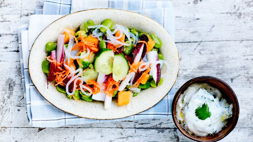 Salade de pâtes konjac aux petits légumes