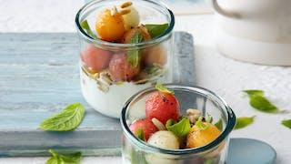 Fromage blanc aux billes de melon et de pastèque