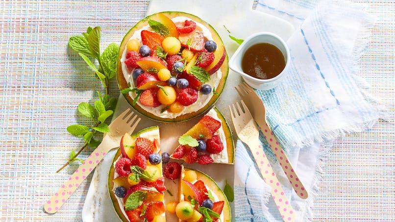 Tarte de melon aux fruits rouges