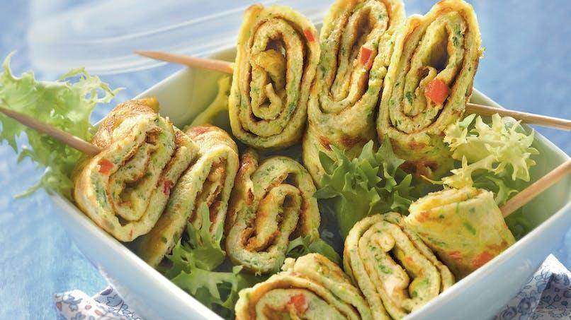 Mini-brochettes d'omelette courgettes feta