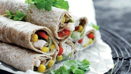 Wraps au cabillaud et petits légumes