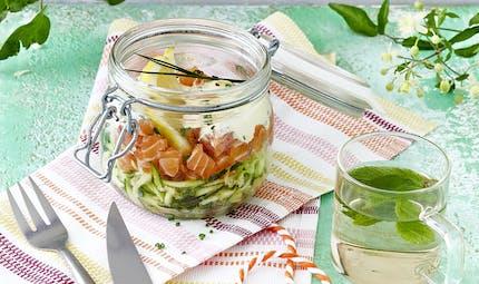 Verrines de tartare de saumon et courgettes
