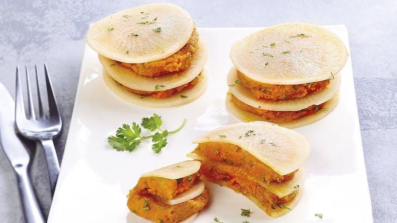 Millefeuille de navets à la purée de carotte au curry