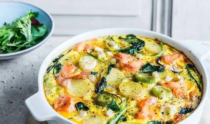 Frittata au saumon fumé et aux légumes