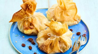 Aumônières bananes-raisins secs