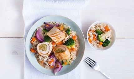 Roulé de dinde, petits légumes et riz