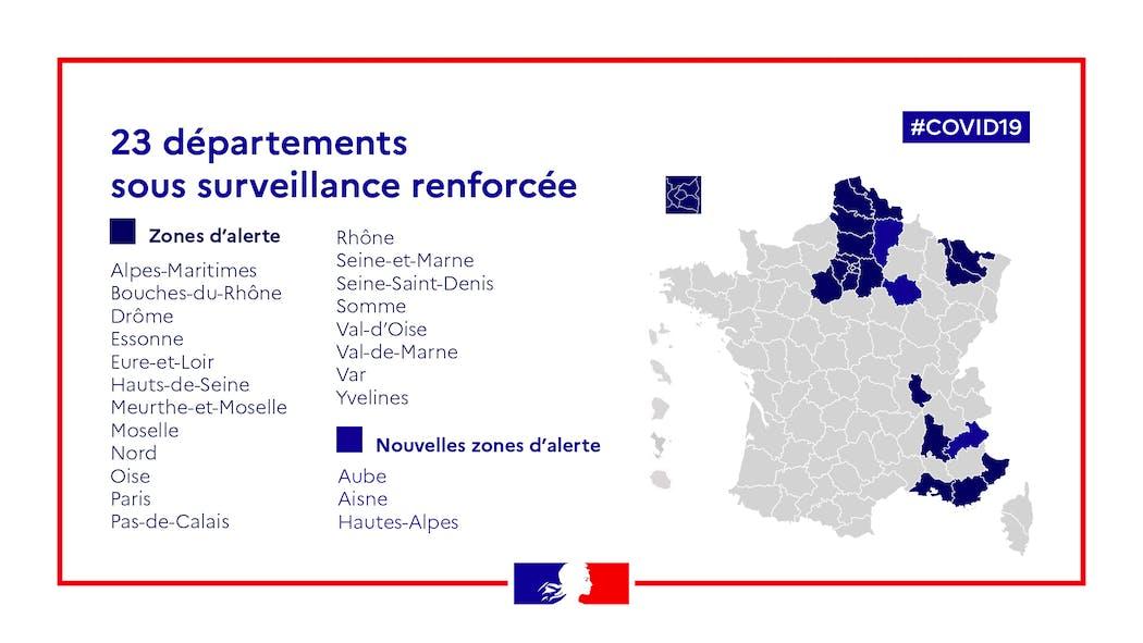 Trois nouveaux départements sous surveillance