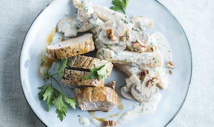 Filet mignon de porc, salsifis et champignons