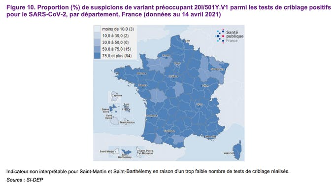 Proportion (%) de suspicions de variant préoccupant 20I/501Y.V1 parmi les tests de criblage positifs pour le SARS-CoV-2, par département, France (données au 14 avril 2021)