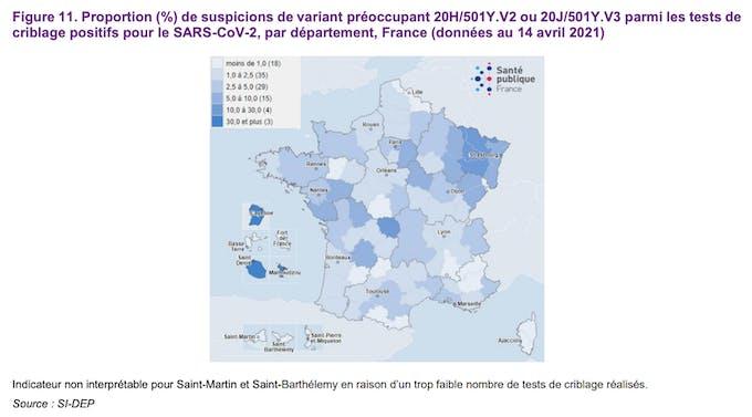 Proportion (%) de suspicions de variant préoccupant 20H/501Y.V2 ou 20J/501Y.V3 parmi les tests de criblage positifs pour le SARS-CoV-2, par département, France (données au 14 avril 2021)