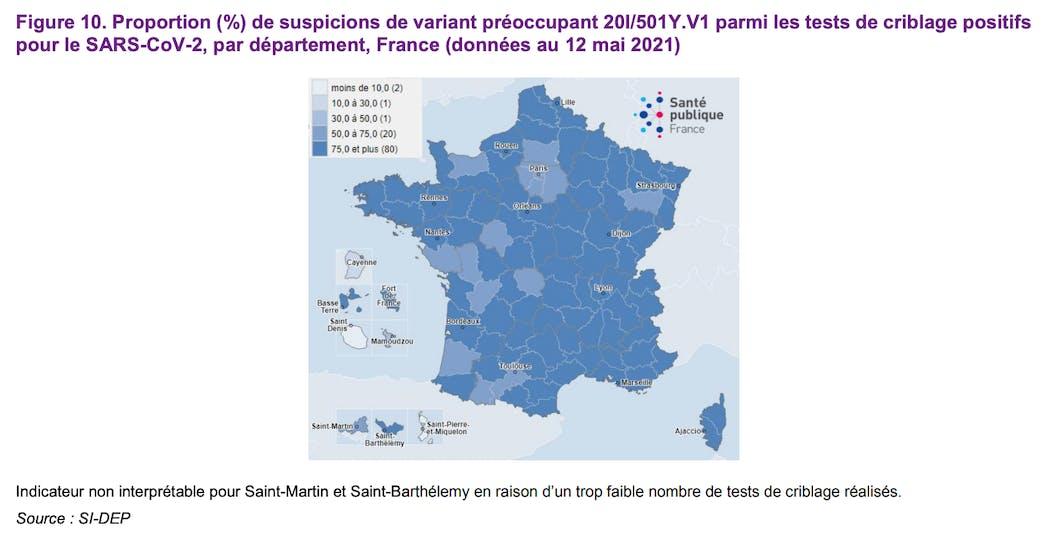 Proportion (%) de suspicions de variant préoccupant 20I/501Y.V1 parmi les tests de criblage positifs pour le SARS-CoV-2, par département, France (données au 12 mai 2021)