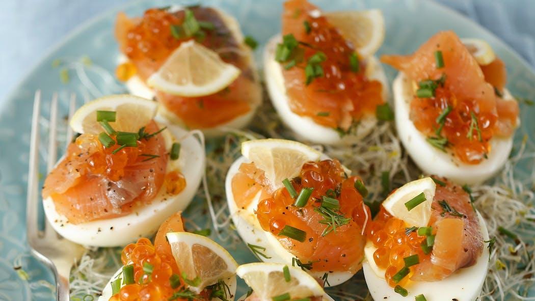 Œufs durs aux 2 saumons