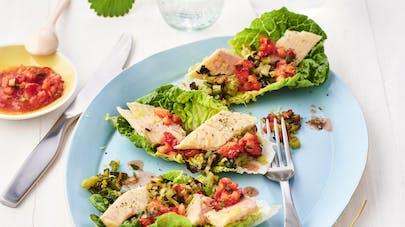 Barquettes de truite en salade