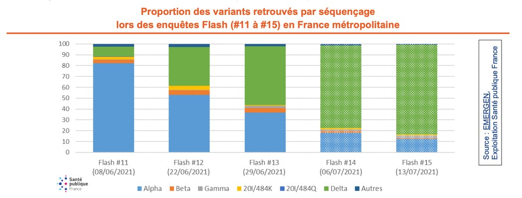 Proportion des variants retrouvés par séquençage lors des enquêtes Flash (#11 à #15) en France métropolitaine