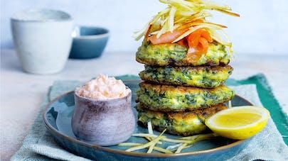 Petite omelette aux épinards et saumon fumé