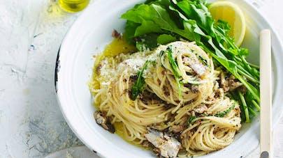 nids spaghettis sardines roquette