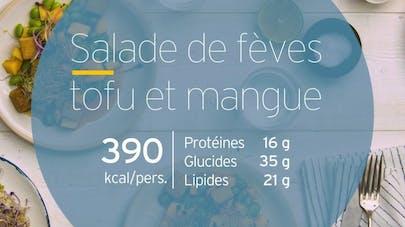 Salade de fèves tofu et mangue