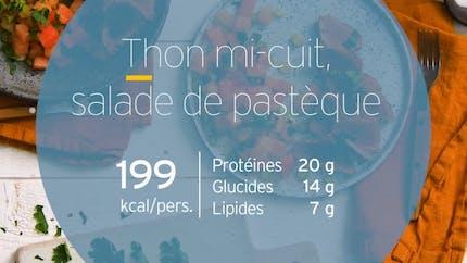 Thon mi-cuit et salade de pastèque