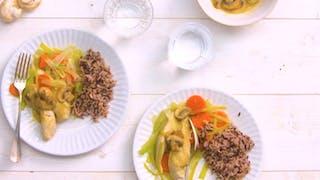 Recette du poulet au riz façon blanquette en vidéo