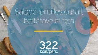 Salade de lentilles corail, betterave et feta