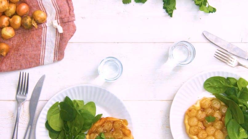 Recette de tarte tatin aux oignons grelots en vidéo